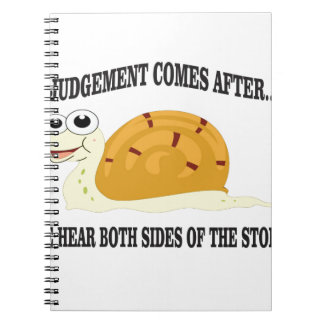 slow to judgement notebook