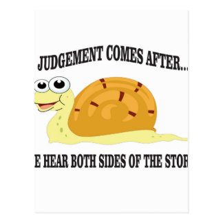 slow to judgement postcard