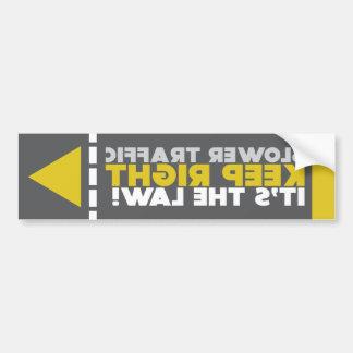 Slower Traffic Keep Right Law Mirrored Sticker
