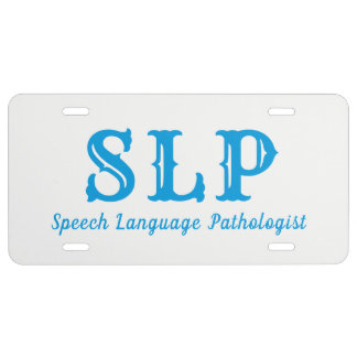 SLP Speech language pathologist license plate