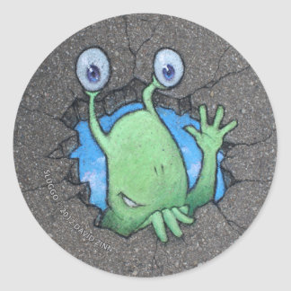 Sluggo breaks through classic round sticker