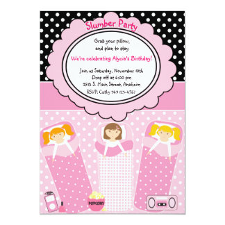 "Slumber Party 5"" X 7"" Invitation Card"