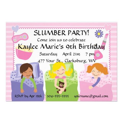 Slumber Party Birthday Announcement
