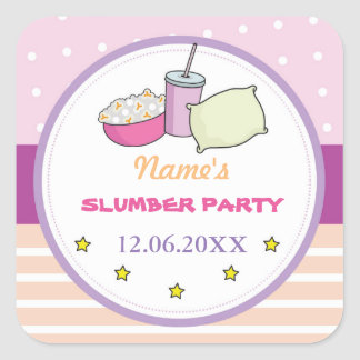 Slumber Party Birthday Sleep Over Stickers Label