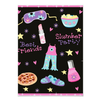 "Slumber Party for Girls 5"" X 7"" Invitation Card"