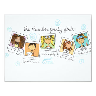 "slumber party girls 4.25"" x 5.5"" invitation card"
