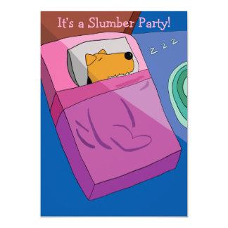 Slumber Party Invitation Featuring Sleeping Dog