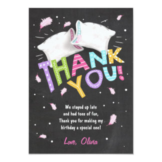 "Slumber party Pajamas Thank You Card Sleepover 5"" X 7"" Invitation Card"