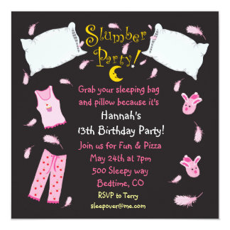 Slumber Party Pillow Fight Birthday Invitation