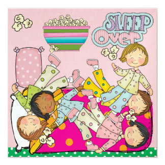 "Slumber Party - Sleep Over 5.25"" Square Invitation Card"