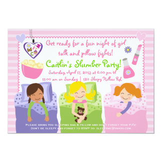 "SLUMBER PARTY WITH MY FRIENDS! 5"" X 7"" INVITATION CARD"