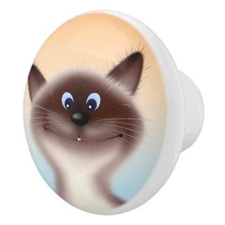 Sly Cat Ceramic Knob