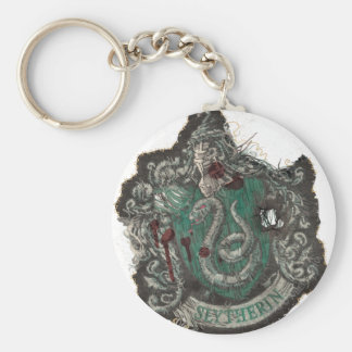 Slytherin Crest - Destroyed Basic Round Button Keychain