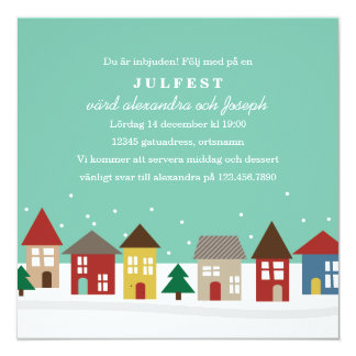 Små Hus Julpartyinbjudningar Card