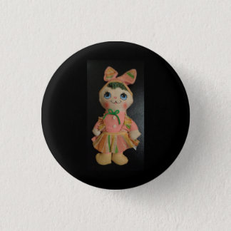 "Small 1 1/4"" round button with doll"
