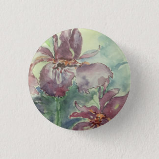 """Small 1 1/4"""" round button with flower"""
