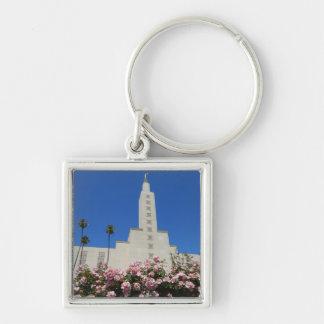 """Small (1.38"""") Premium Square Keychain LA Temple"""