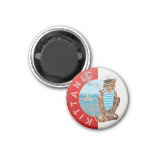 Small, 3.2 Cm Round Magnet with Captain Cat