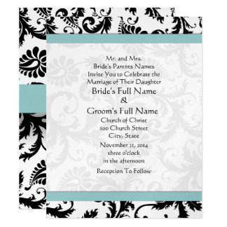 Small 4x5 Black Damask Swirls Wedding Invitation