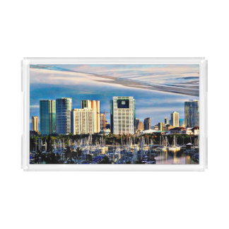 Small Acrylic Tray - Honolulu Skyline and Marina