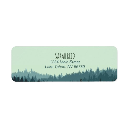 Small address label for mountain wedding in blue