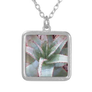 Small agave silver plated necklace