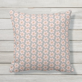 Small and Large 6 Petal Cherry Blossom Throw Pillow