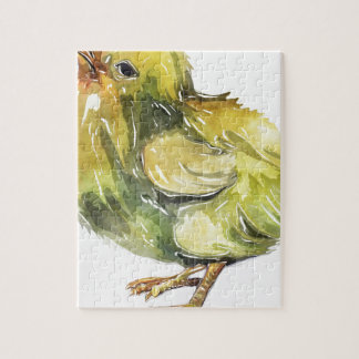 Small baby yellow chicken painted jigsaw puzzle