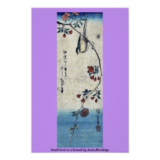 Small bird on a branch by Ando,Hiroshige Poster