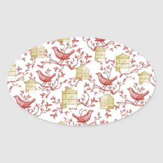 Small birds and Cages Oval Sticker