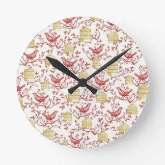 Small birds and Cages Round Clock