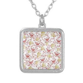 Small birds and Cages Silver Plated Necklace