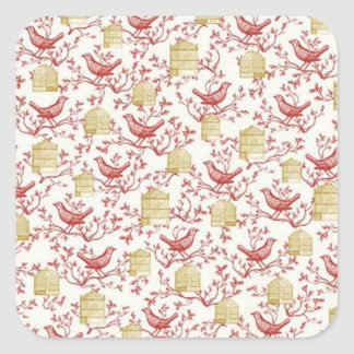 Small birds and Cages Square Sticker