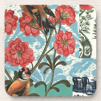 Small birds and flowers beverage coasters