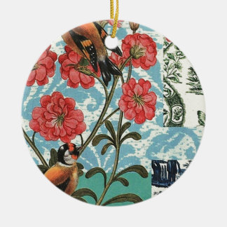 Small birds and flowers ceramic ornament