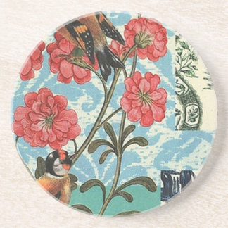 Small birds and flowers drink coaster