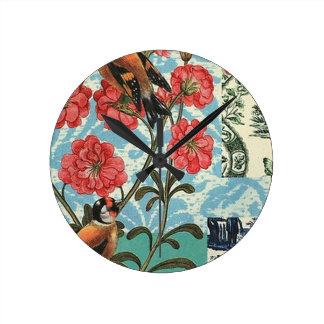 Small birds and flowers - medium round Clock