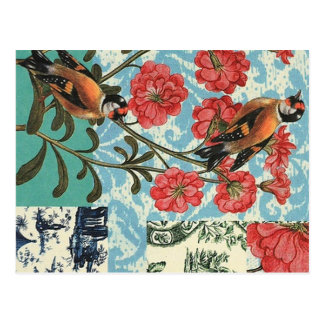 Small birds and flowers postcard