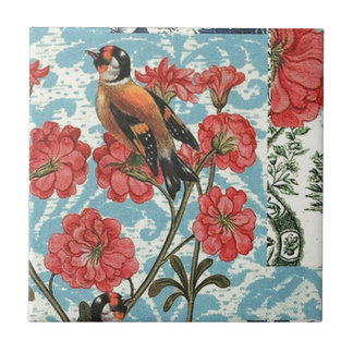 Small birds and flowers tile
