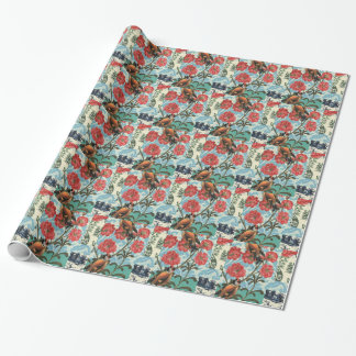 Small birds and flowers wrapping paper