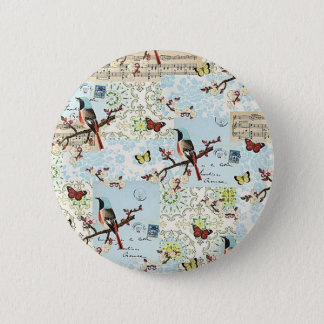 Small birds and music 2 inch round button