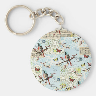 Small birds and music basic round button keychain