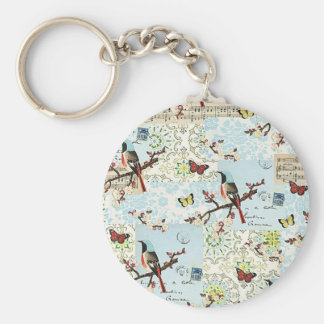 Small birds and music - Key ring Basic Round Button Keychain