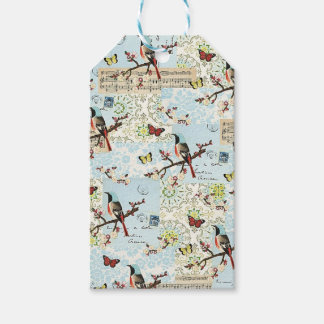 Small birds and music pack of gift tags