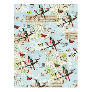 Small birds and music postcard