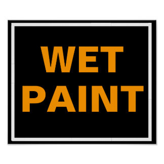 Small Black and Orange Wet Paint Poster