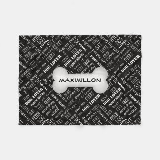 SMALL Black with White Dog Bone and Name Fleece Blanket