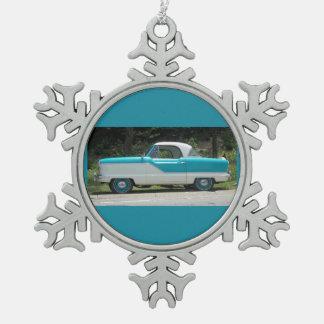Small blue Metropolitian Nash cute classic car Snowflake Pewter Christmas Ornament