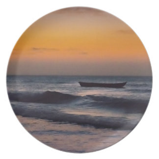 Small Boat at Sea Jericoacoara Brazil Party Plates