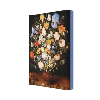 Small Bouquet of Flowers in a Ceramic Vase Canvas Print